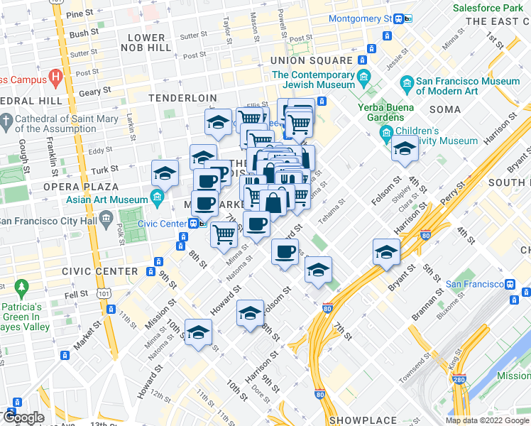 map of restaurants, bars, coffee shops, grocery stores, and more near 1045 Mission Street in San Francisco