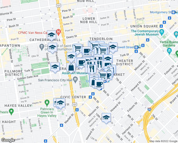 map of restaurants, bars, coffee shops, grocery stores, and more near 324 Larkin Street in San Francisco