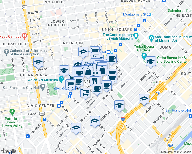 map of restaurants, bars, coffee shops, grocery stores, and more near 529 Stevenson Street in San Francisco