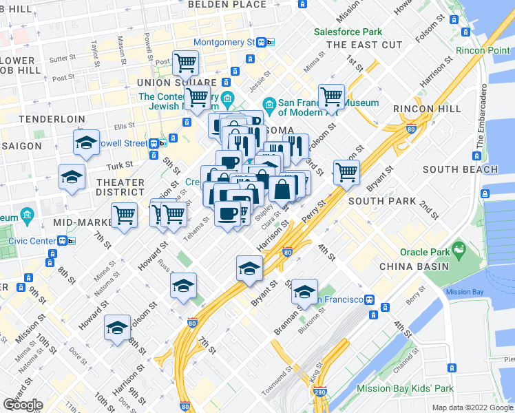 map of restaurants, bars, coffee shops, grocery stores, and more near 855 Folsom Street in San Francisco