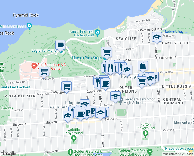 map of restaurants, bars, coffee shops, grocery stores, and more near 3315 Clement Street in San Francisco