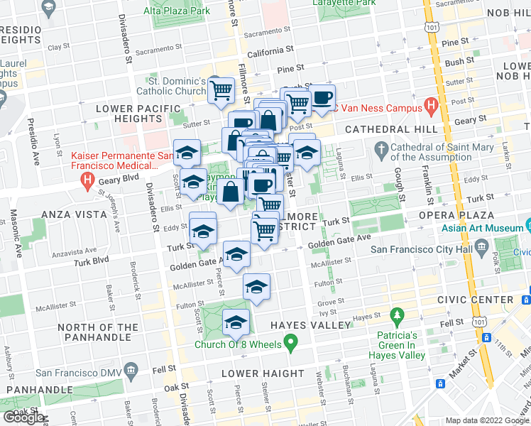 map of restaurants, bars, coffee shops, grocery stores, and more near Fillmore Street & Eddy Street in San Francisco
