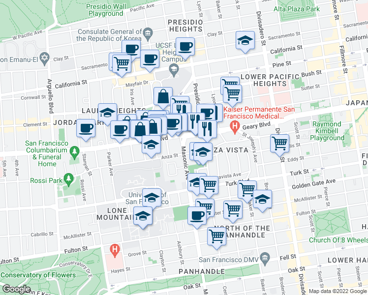 map of restaurants, bars, coffee shops, grocery stores, and more near Masonic Avenue in San Francisco