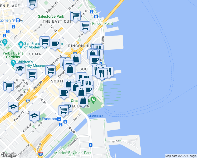map of restaurants, bars, coffee shops, grocery stores, and more near The Embarcadero & Townsend St in San Francisco