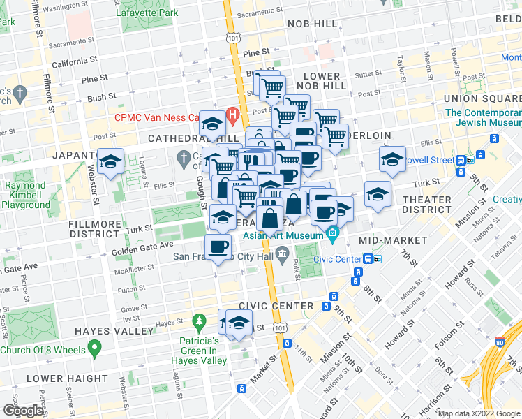 map of restaurants, bars, coffee shops, grocery stores, and more near Van Ness Ave & Turk St in San Francisco