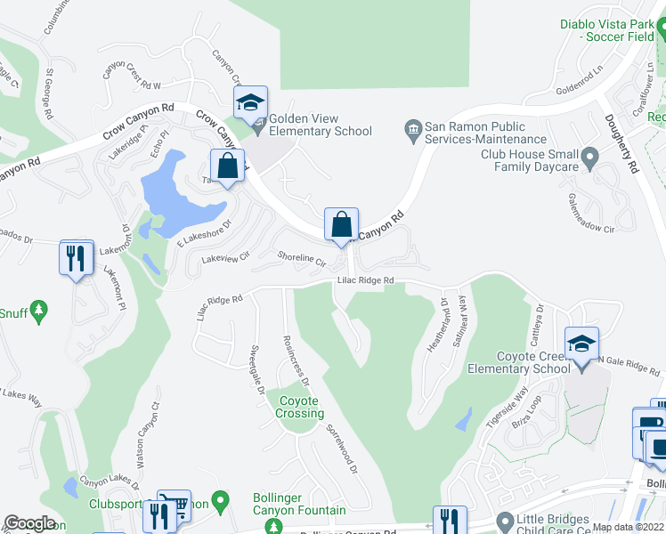 map of restaurants, bars, coffee shops, grocery stores, and more near 358 Shoreline Circle in San Ramon