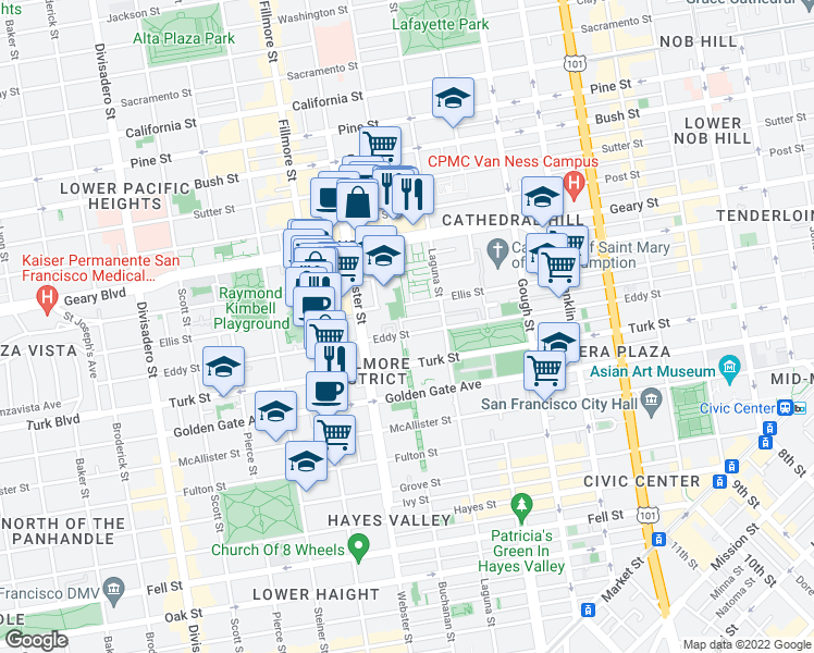 map of restaurants, bars, coffee shops, grocery stores, and more near 1300 Buchanan Street in San Francisco