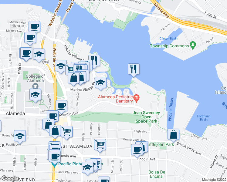 map of restaurants, bars, coffee shops, grocery stores, and more near 12 Regulus Court in Alameda