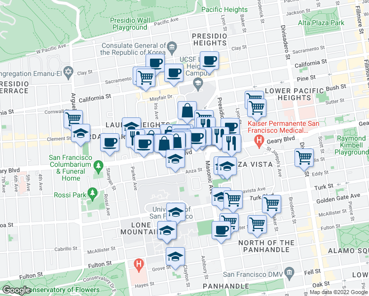 map of restaurants, bars, coffee shops, grocery stores, and more near 2824 Geary Boulevard in San Francisco