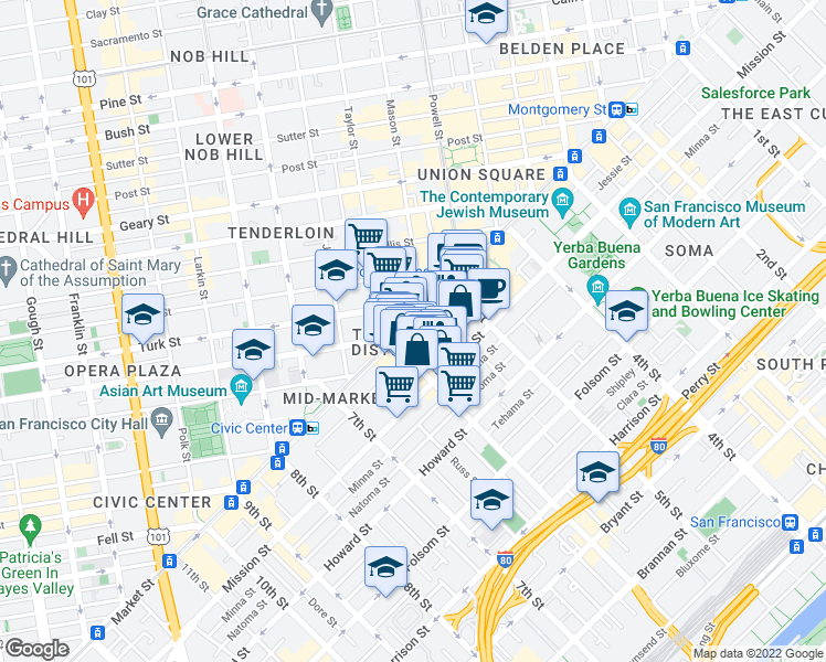 map of restaurants, bars, coffee shops, grocery stores, and more near 973 Market Street in San Francisco