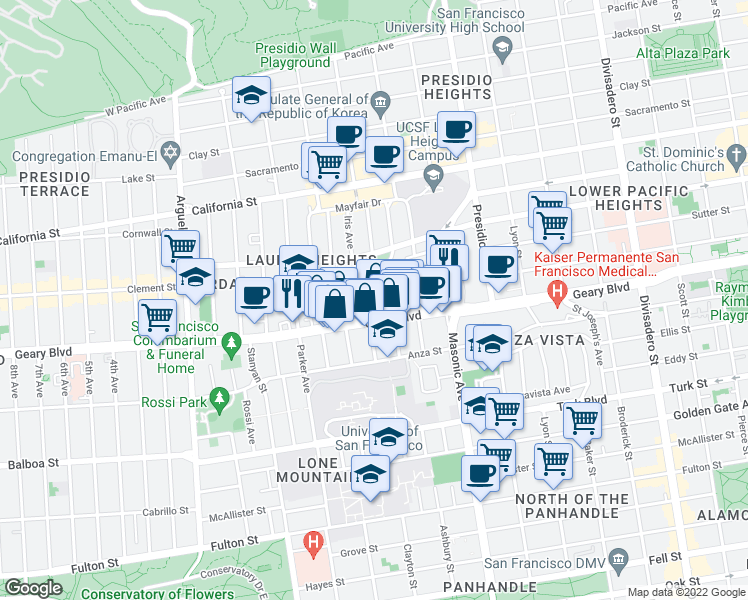 map of restaurants, bars, coffee shops, grocery stores, and more near 68 Blake Street in San Francisco