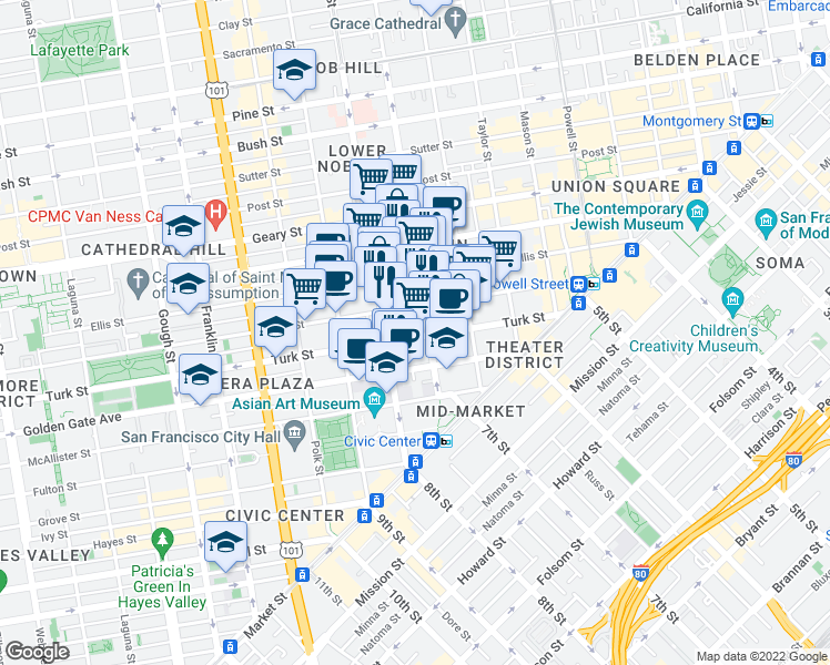 map of restaurants, bars, coffee shops, grocery stores, and more near 320 Turk Street in San Francisco