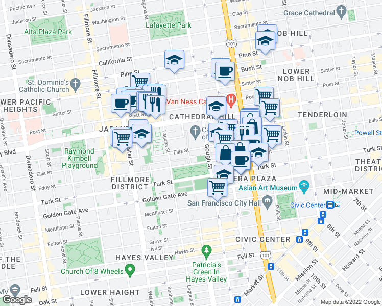 map of restaurants, bars, coffee shops, grocery stores, and more near 1175 Ellis Street in San Francisco