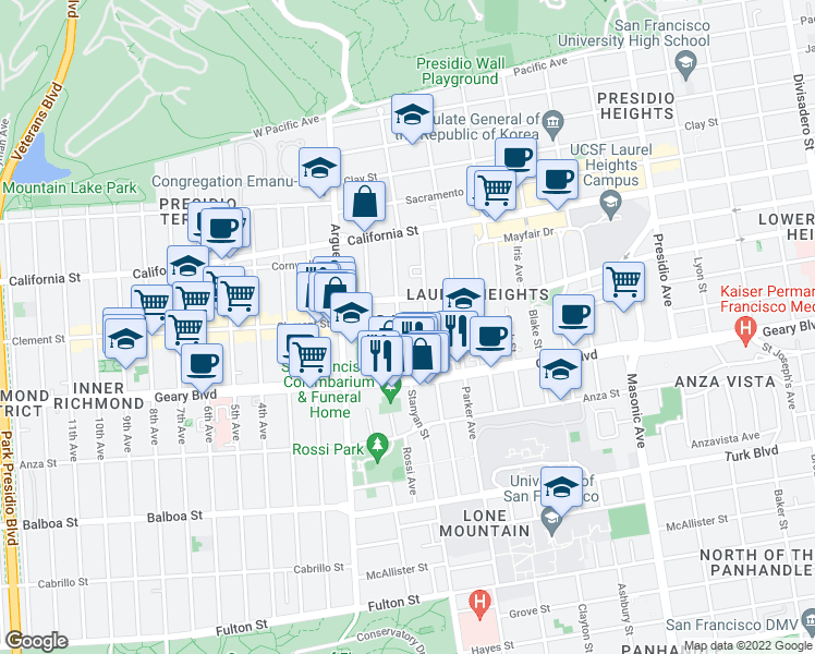 map of restaurants, bars, coffee shops, grocery stores, and more near 132 Jordan Avenue in San Francisco