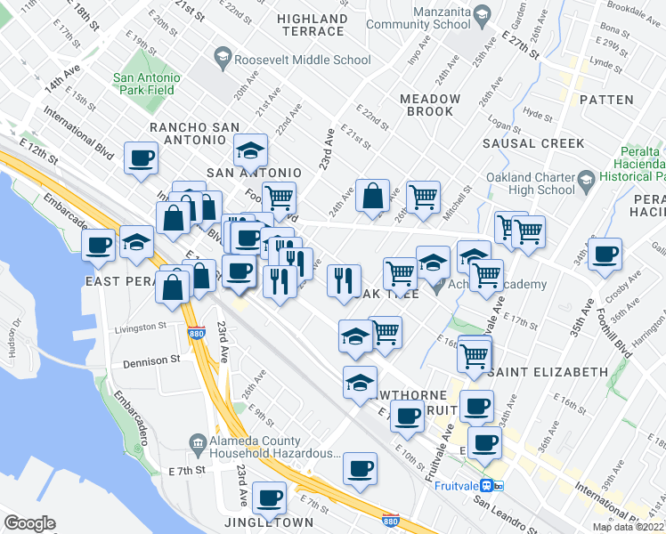 map of restaurants, bars, coffee shops, grocery stores, and more near 2531 East 16th Street in Oakland