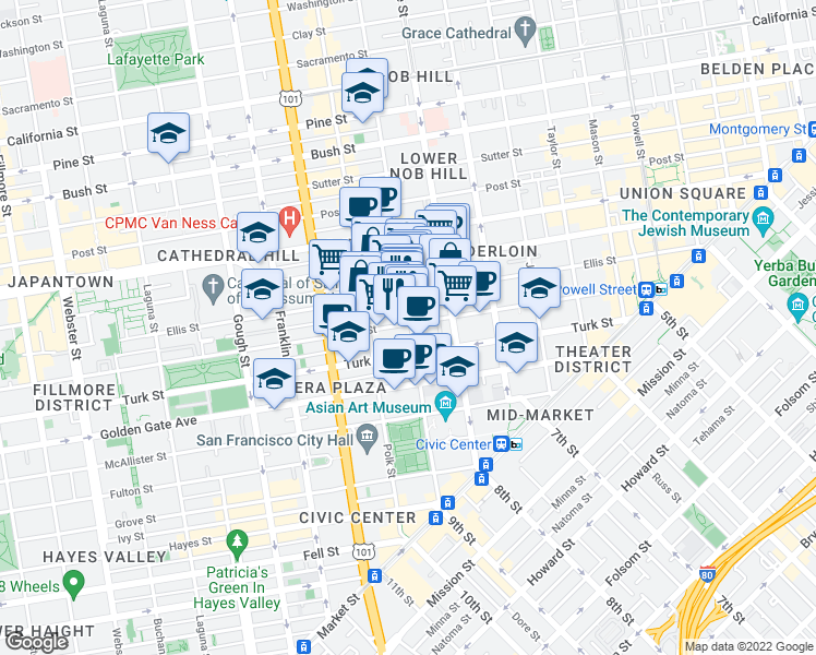 map of restaurants, bars, coffee shops, grocery stores, and more near 560 Larkin Street in San Francisco