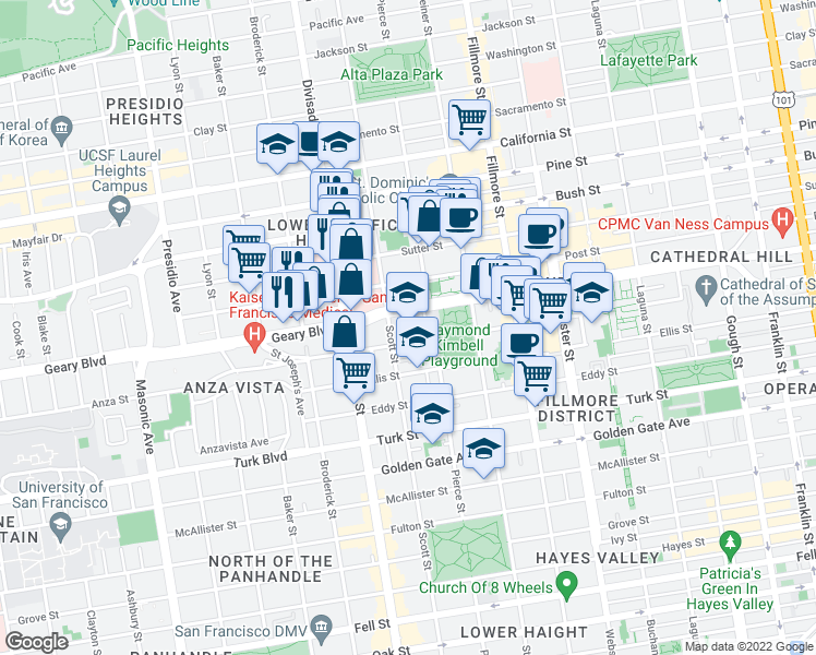 map of restaurants, bars, coffee shops, grocery stores, and more near 2069-2099 Geary Boulevard in San Francisco