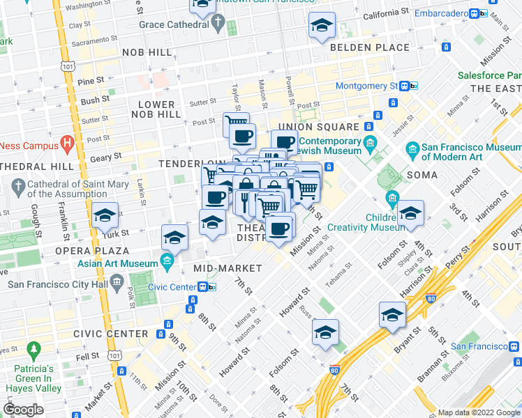 map of restaurants, bars, coffee shops, grocery stores, and more near 98 Turk Street in San Francisco