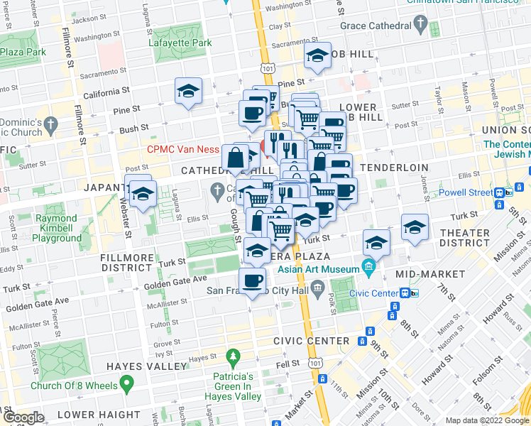 map of restaurants, bars, coffee shops, grocery stores, and more near 950 Franklin Street in San Francisco