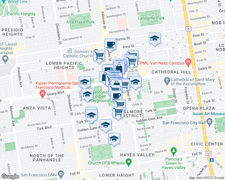 map of restaurants, bars, coffee shops, grocery stores, and more near 1730 O'Farrell Street in San Francisco