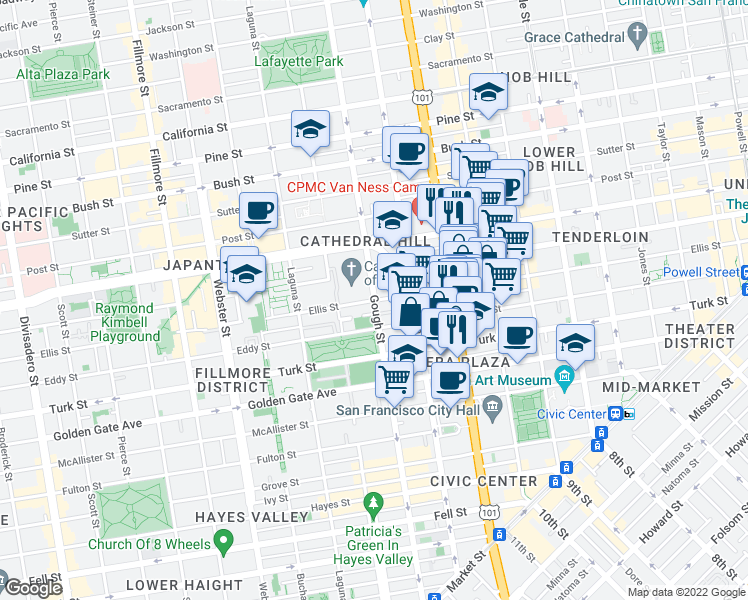 map of restaurants, bars, coffee shops, grocery stores, and more near Ellis Street in San Francisco