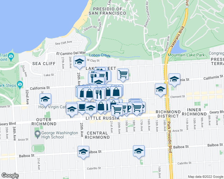 map of restaurants, bars, coffee shops, grocery stores, and more near 232 21st Avenue in San Francisco