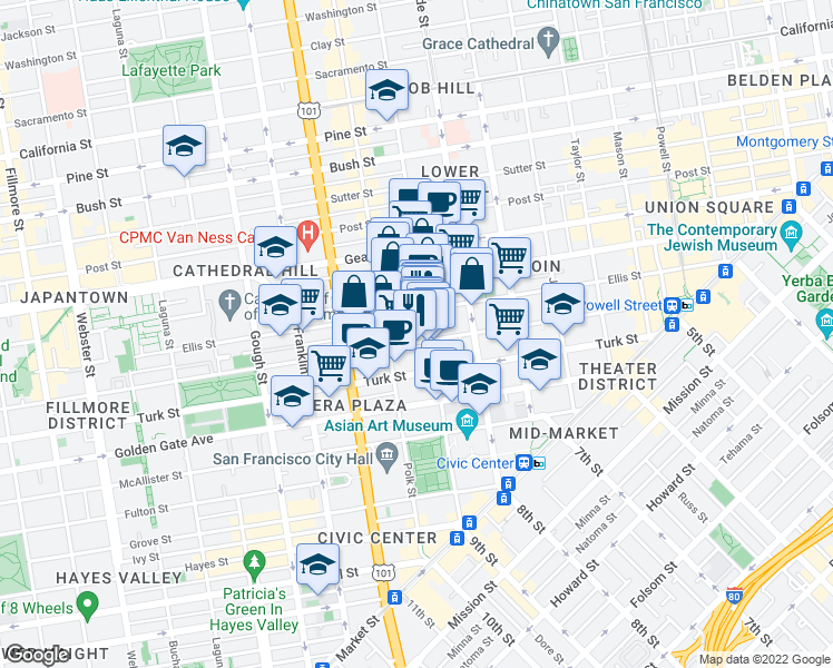 map of restaurants, bars, coffee shops, grocery stores, and more near 611 Larkin Street in San Francisco