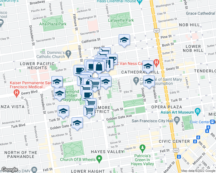 map of restaurants, bars, coffee shops, grocery stores, and more near 2-98 Hollis Street in San Francisco