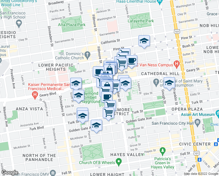 map of restaurants, bars, coffee shops, grocery stores, and more near 1698 O'Farrell Street in San Francisco