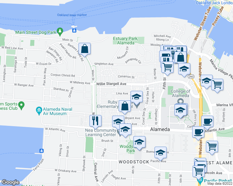 map of restaurants, bars, coffee shops, grocery stores, and more near Lina Ave & Mosley Ave in Alameda