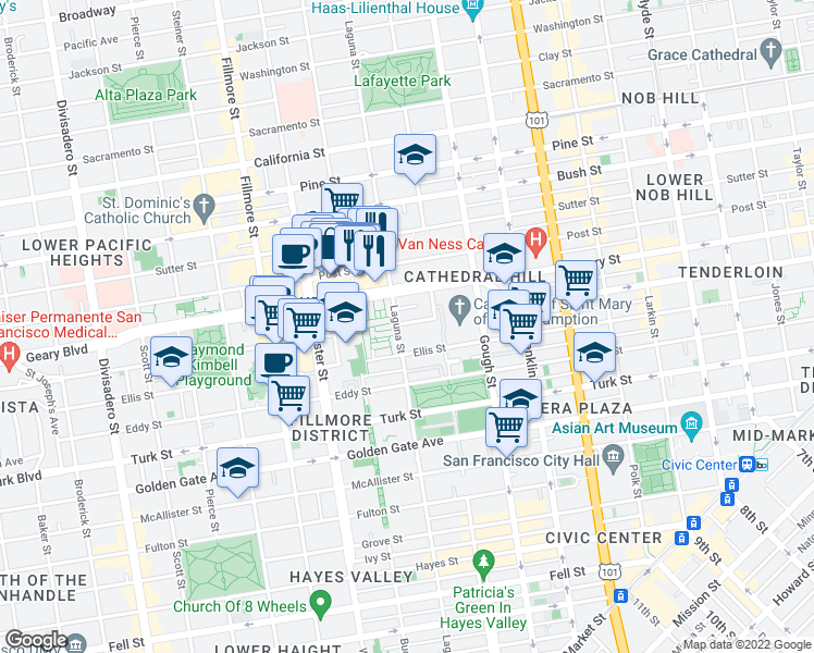 map of restaurants, bars, coffee shops, grocery stores, and more near 85 Cleary Court in San Francisco