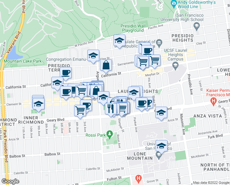 map of restaurants, bars, coffee shops, grocery stores, and more near Jordan Avenue in San Francisco