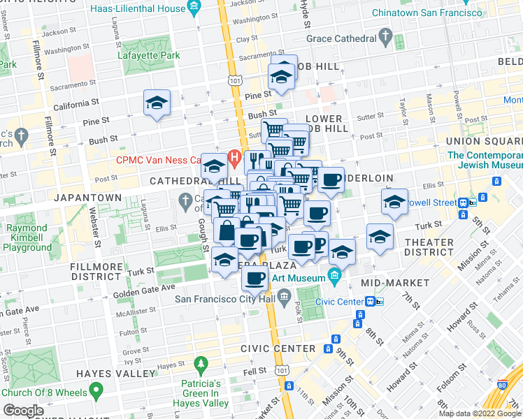 map of restaurants, bars, coffee shops, grocery stores, and more near 900 Van Ness Avenue in San Francisco