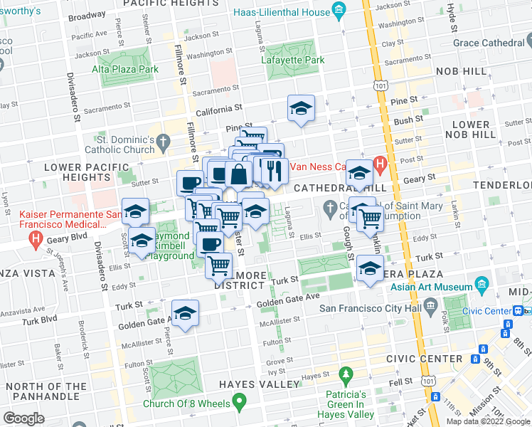 map of restaurants, bars, coffee shops, grocery stores, and more near 1530 Buchanan Street in San Francisco