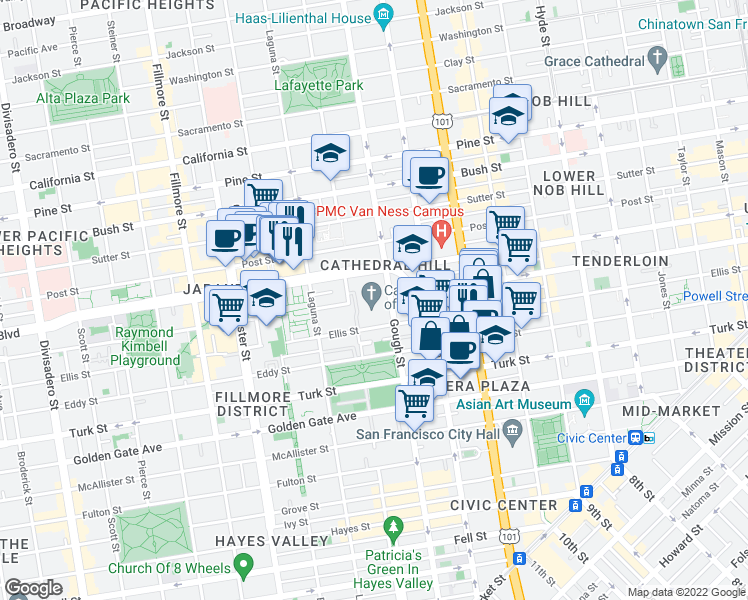 map of restaurants, bars, coffee shops, grocery stores, and more near 1111 Gough Street in San Francisco