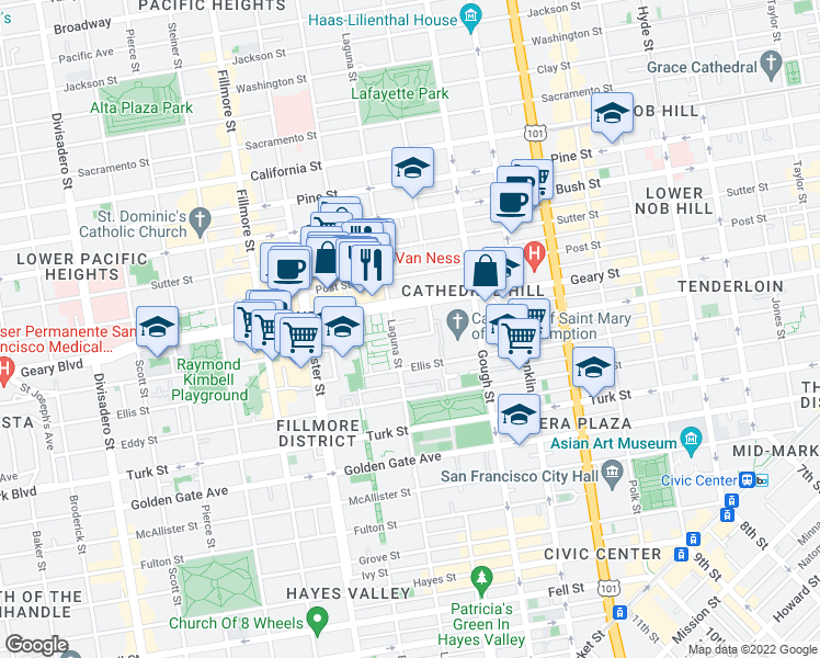 map of restaurants, bars, coffee shops, grocery stores, and more near 66 Cleary Court in San Francisco
