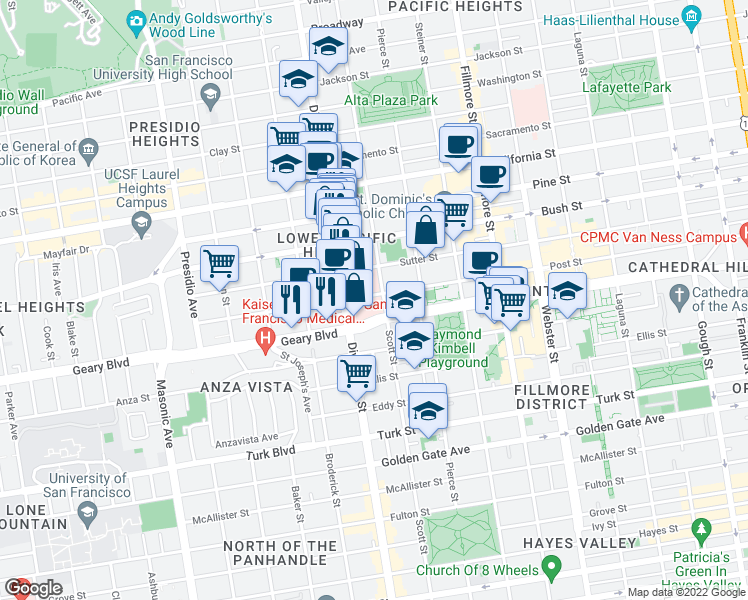 map of restaurants, bars, coffee shops, grocery stores, and more near 1600 Divisadero Street in San Francisco