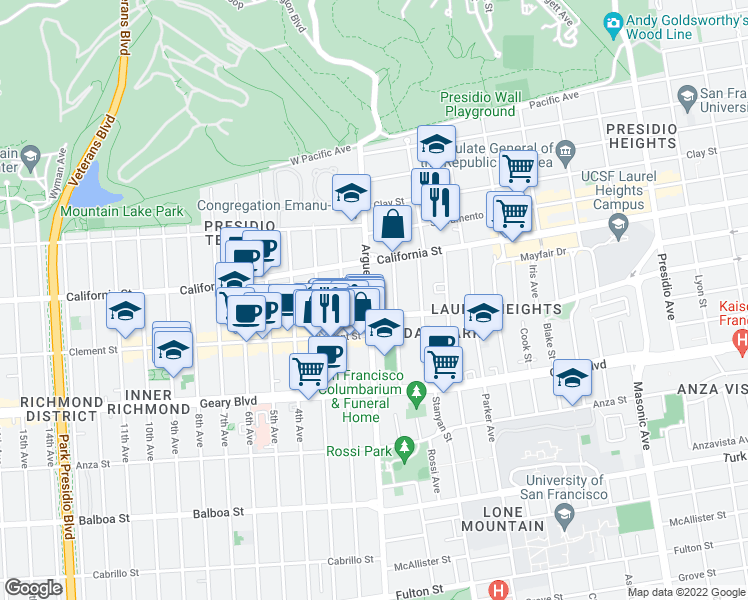 map of restaurants, bars, coffee shops, grocery stores, and more near 370 Arguello Boulevard in San Francisco