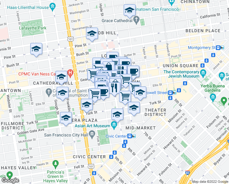 map of restaurants, bars, coffee shops, grocery stores, and more near Hyde St & Ellis St in San Francisco