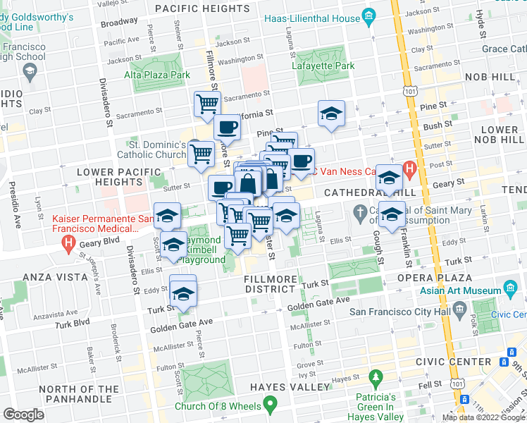 map of restaurants, bars, coffee shops, grocery stores, and more near Geary Blvd & Webster St in San Francisco