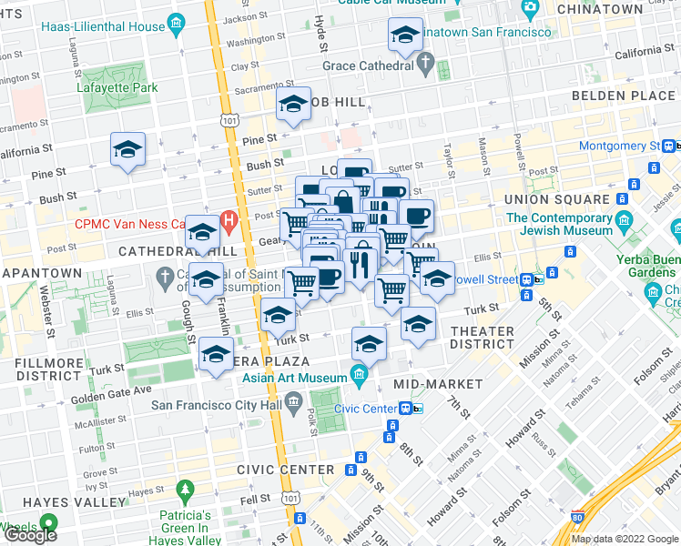 map of restaurants, bars, coffee shops, grocery stores, and more near 650 Ellis Street in San Francisco