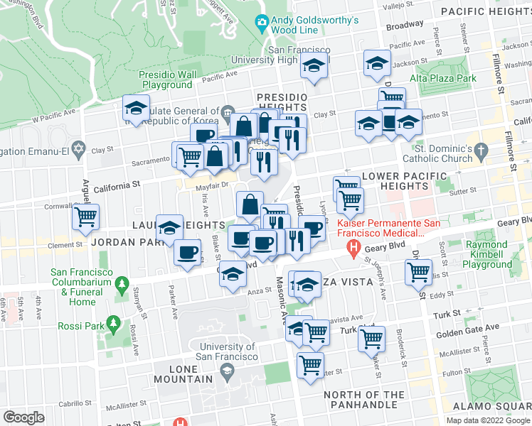 map of restaurants, bars, coffee shops, grocery stores, and more near 49 Lupine Avenue in San Francisco