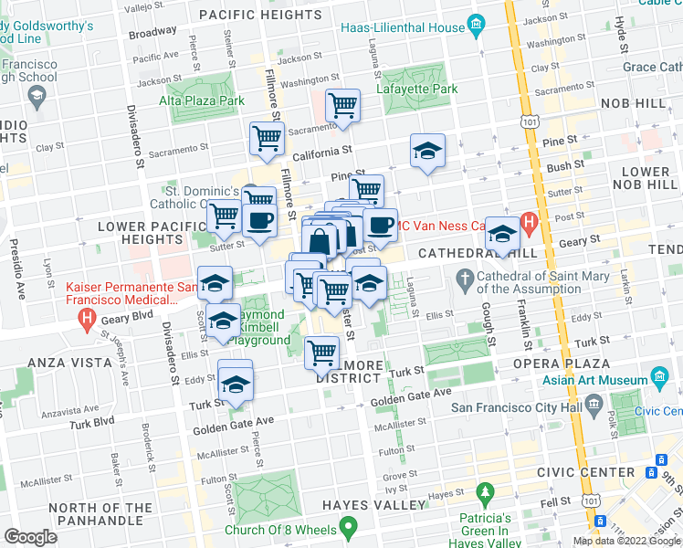 map of restaurants, bars, coffee shops, grocery stores, and more near Geary Boulevard & Webster Street in San Francisco