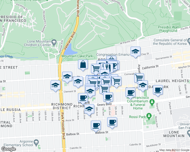 map of restaurants, bars, coffee shops, grocery stores, and more near California Street & 8th Avenue in San Francisco