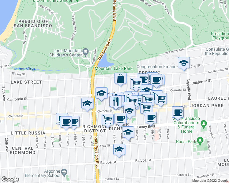 map of restaurants, bars, coffee shops, grocery stores, and more near 4840 California Street in San Francisco