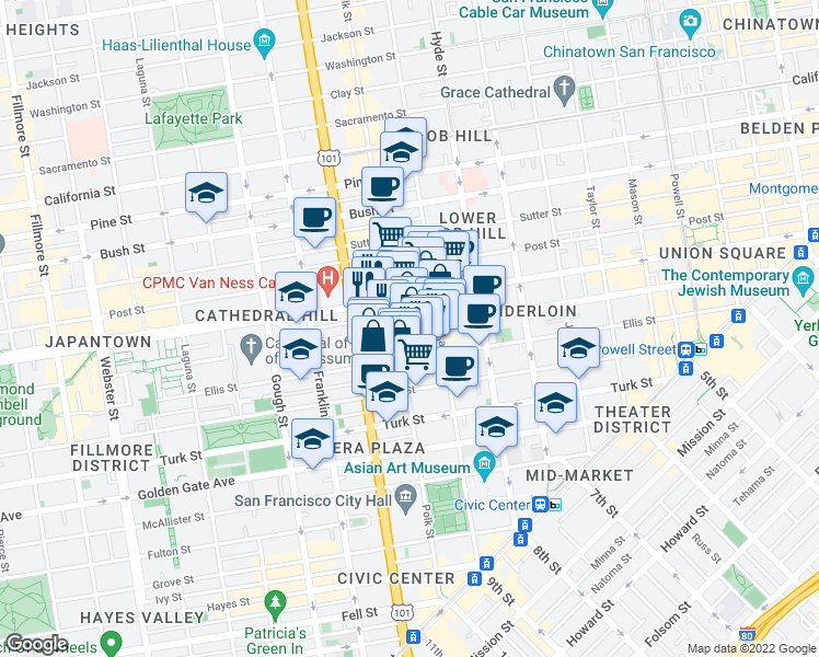 map of restaurants, bars, coffee shops, grocery stores, and more near 859-875 O'Farrell Street in San Francisco