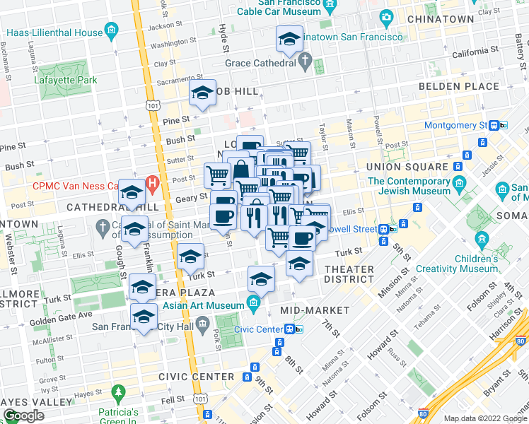 map of restaurants, bars, coffee shops, grocery stores, and more near 641 O'Farrell Street in San Francisco