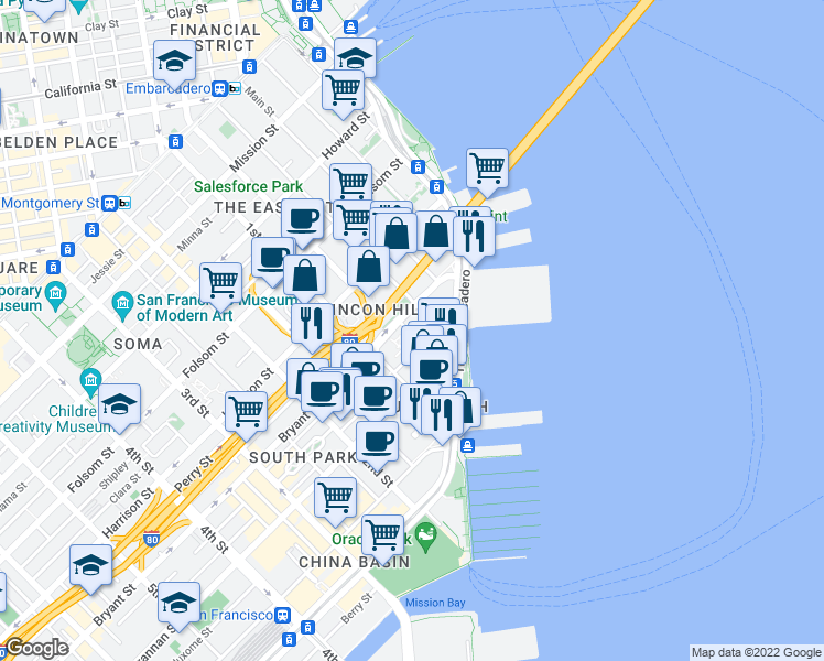map of restaurants, bars, coffee shops, grocery stores, and more near 3 Bayside Village Place in San Francisco