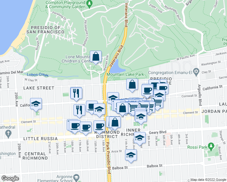 map of restaurants, bars, coffee shops, grocery stores, and more near 135 12th Avenue in San Francisco