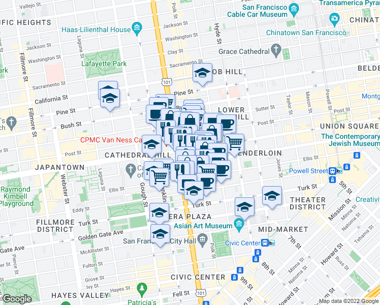 map of restaurants, bars, coffee shops, grocery stores, and more near 1029 Geary Street in San Francisco